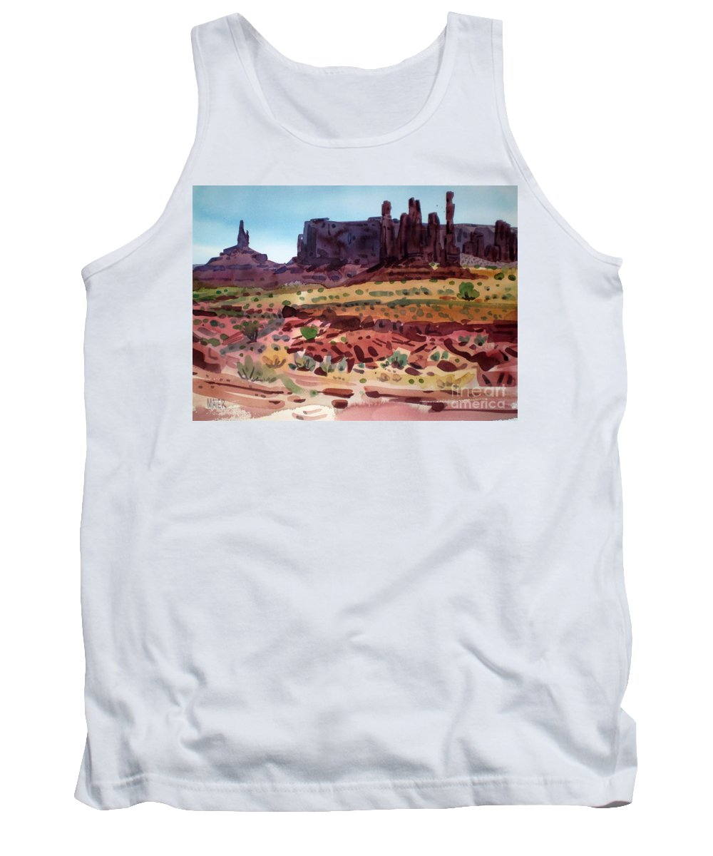 Monument Valley Tank Top featuring the painting Totem Poles by Donald Maier