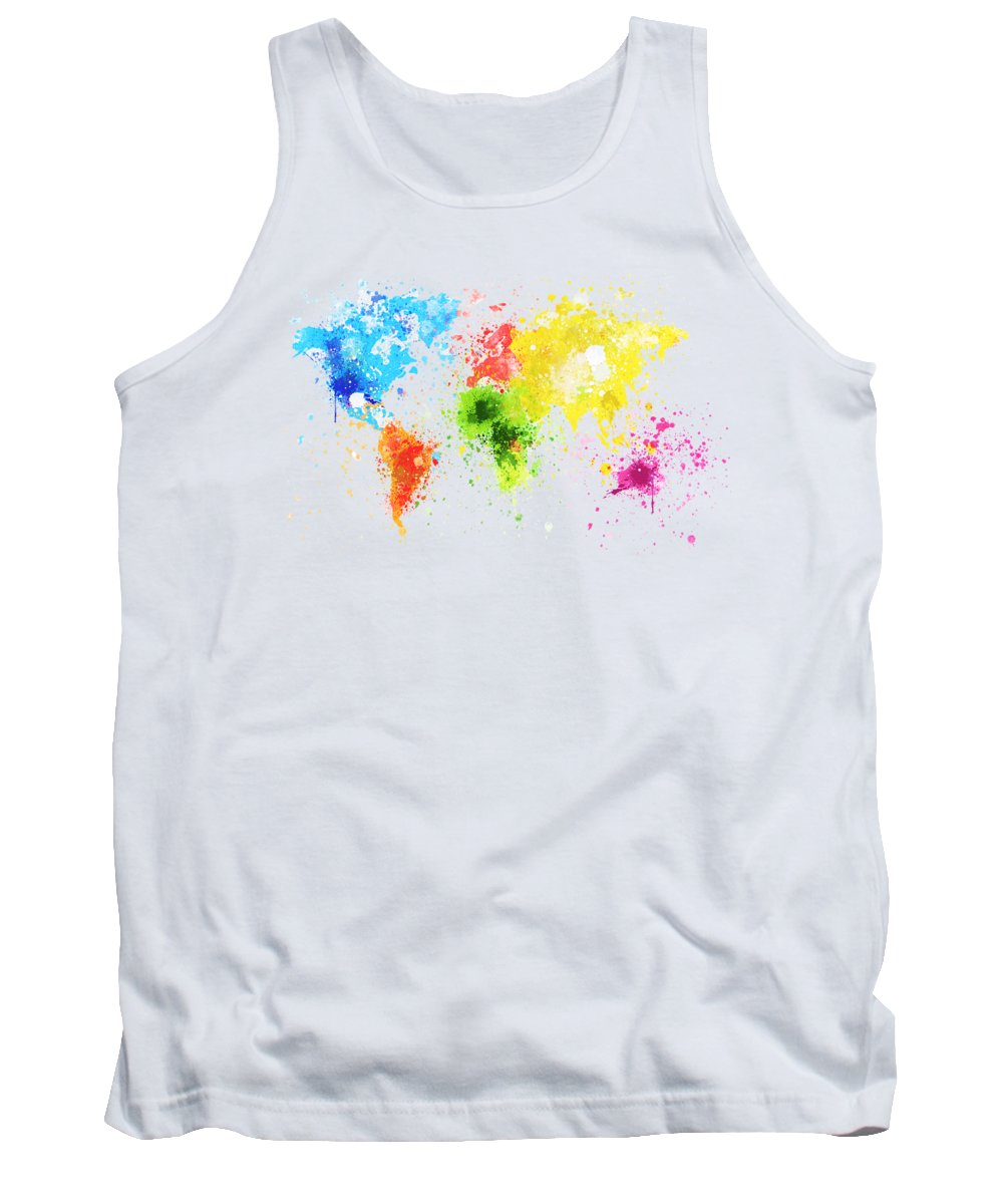 Adventure Tank Top featuring the painting World Map Painting by Setsiri Silapasuwanchai