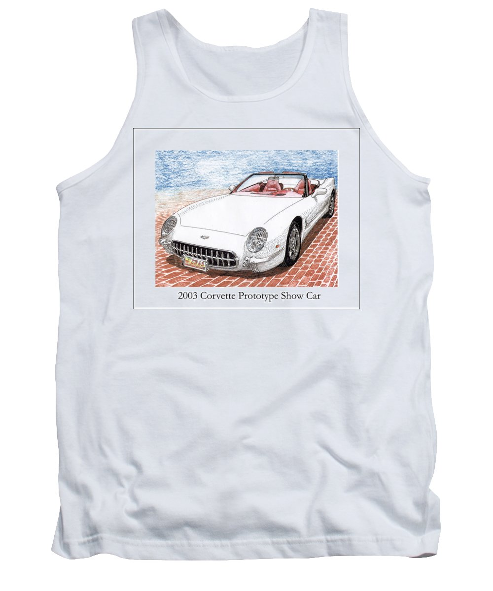 Concept Cars. Great American Muscle Cars. 2003 Corvette Prototype Tank Top featuring the painting 2003 Corvette Prototype by Jack Pumphrey