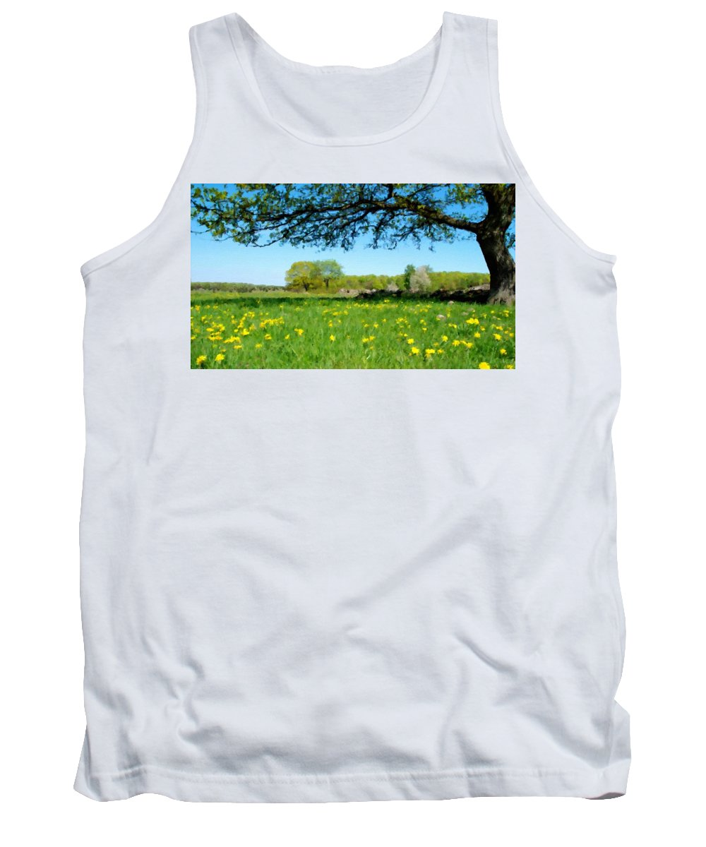 9 Tank Top featuring the digital art Landscapes Oil Painting by Usa Map