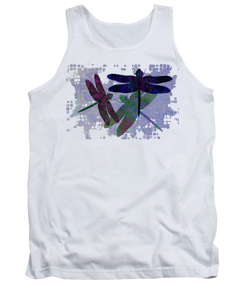 Dragonfly Tank Top featuring the painting 3 Dragonfly by Jack Zulli