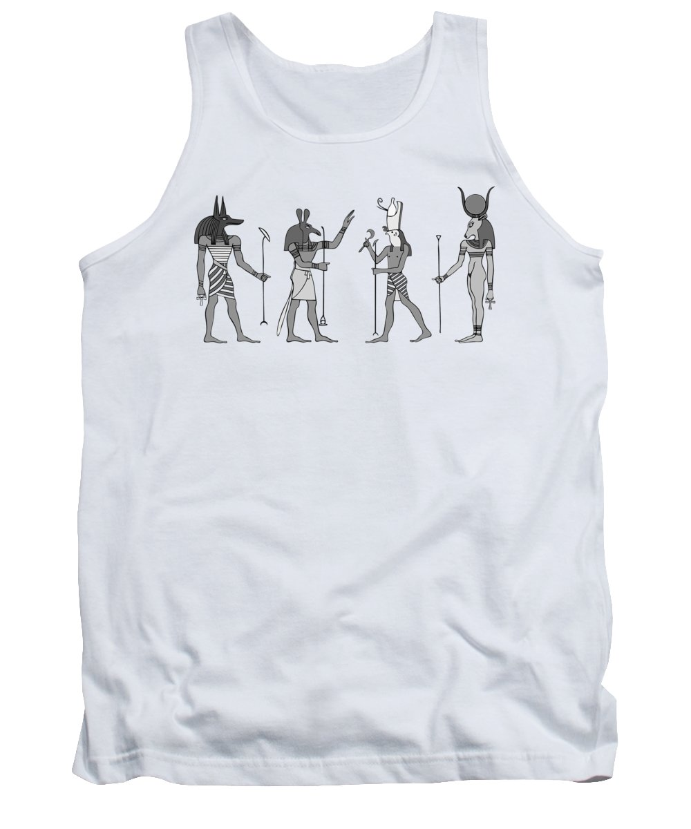 Mythology Tank Top featuring the digital art Gods Of Ancient Egypt by Michal Boubin