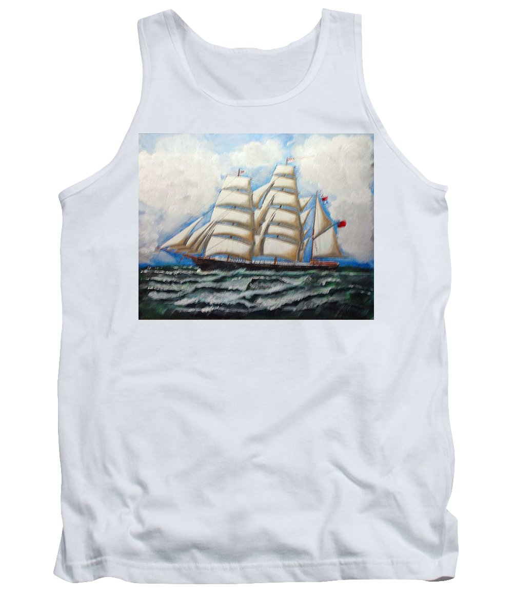Tall Ship Tank Top featuring the painting 3 Master Tall Ship by Richard Le Page