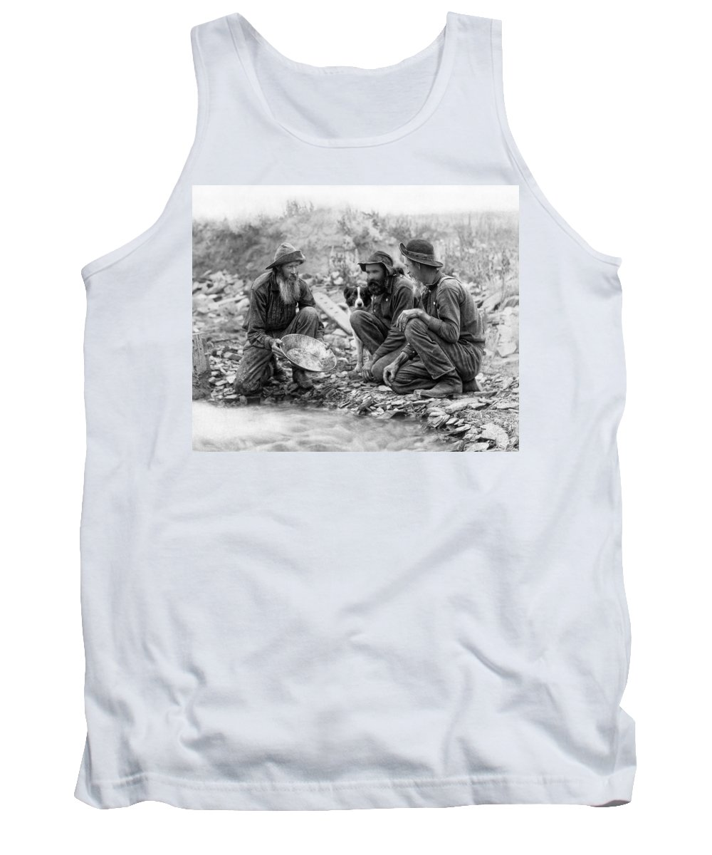 Gold Tank Top featuring the photograph 3 Men And A Dog Panning For Gold C. 1889 by Daniel Hagerman