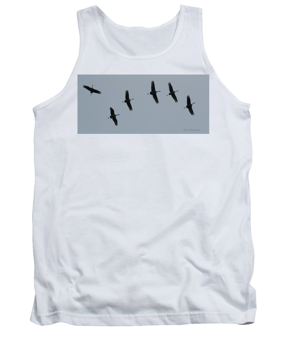 Sand Hill Cranes Tank Top featuring the photograph Sandhill Cranes In Flight by Dwain Patton