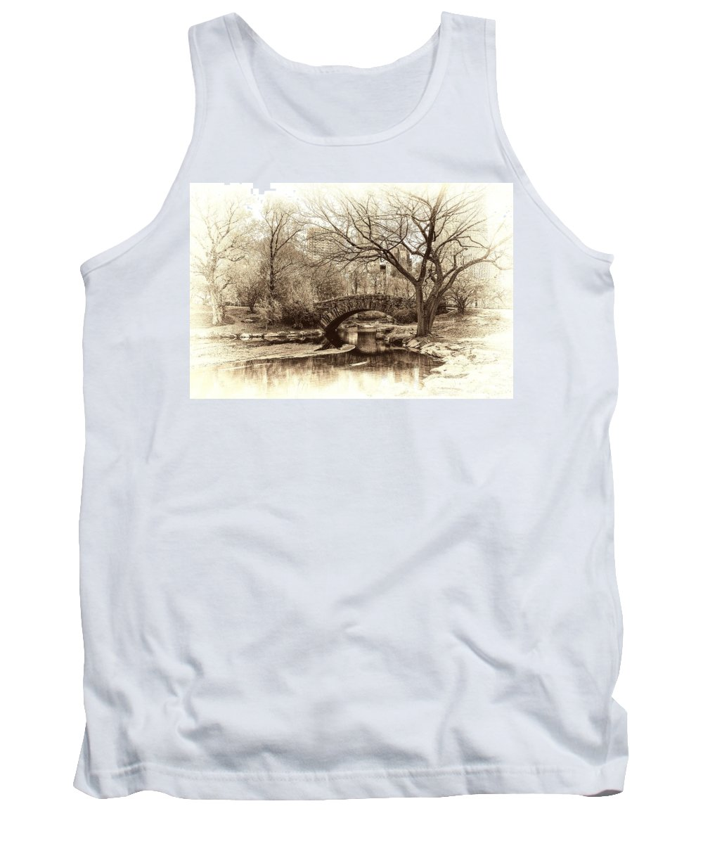 New York Tank Top featuring the photograph South Bridge - Central Park by Jeff Watts