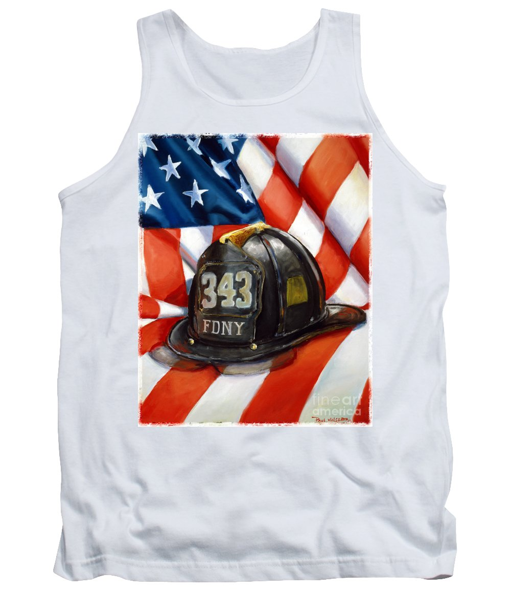 American Flag Tank Top featuring the painting 343 by Paul Walsh