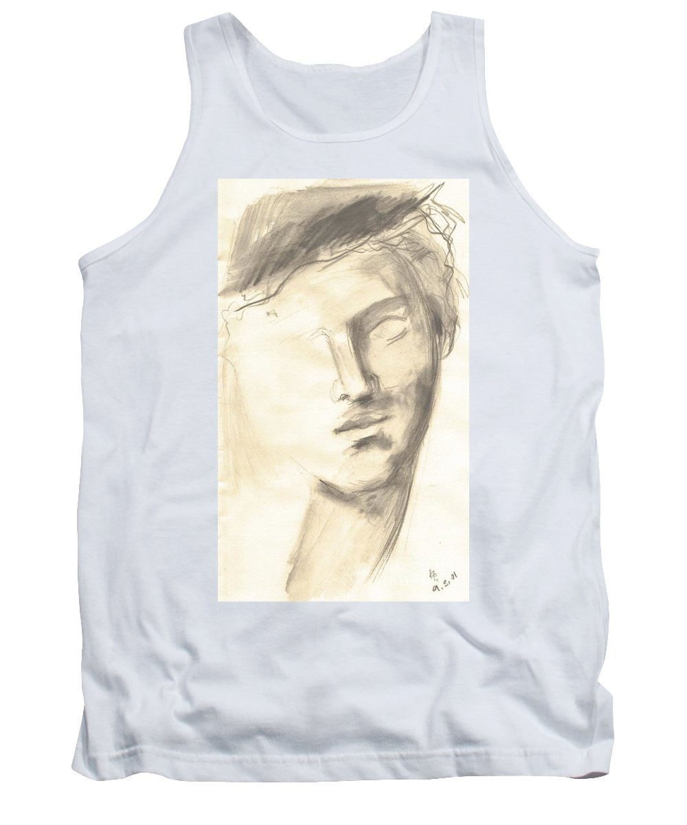 Drawing Tank Top featuring the drawing Drawing Of Ancient Sculpture by Karina Plachetka