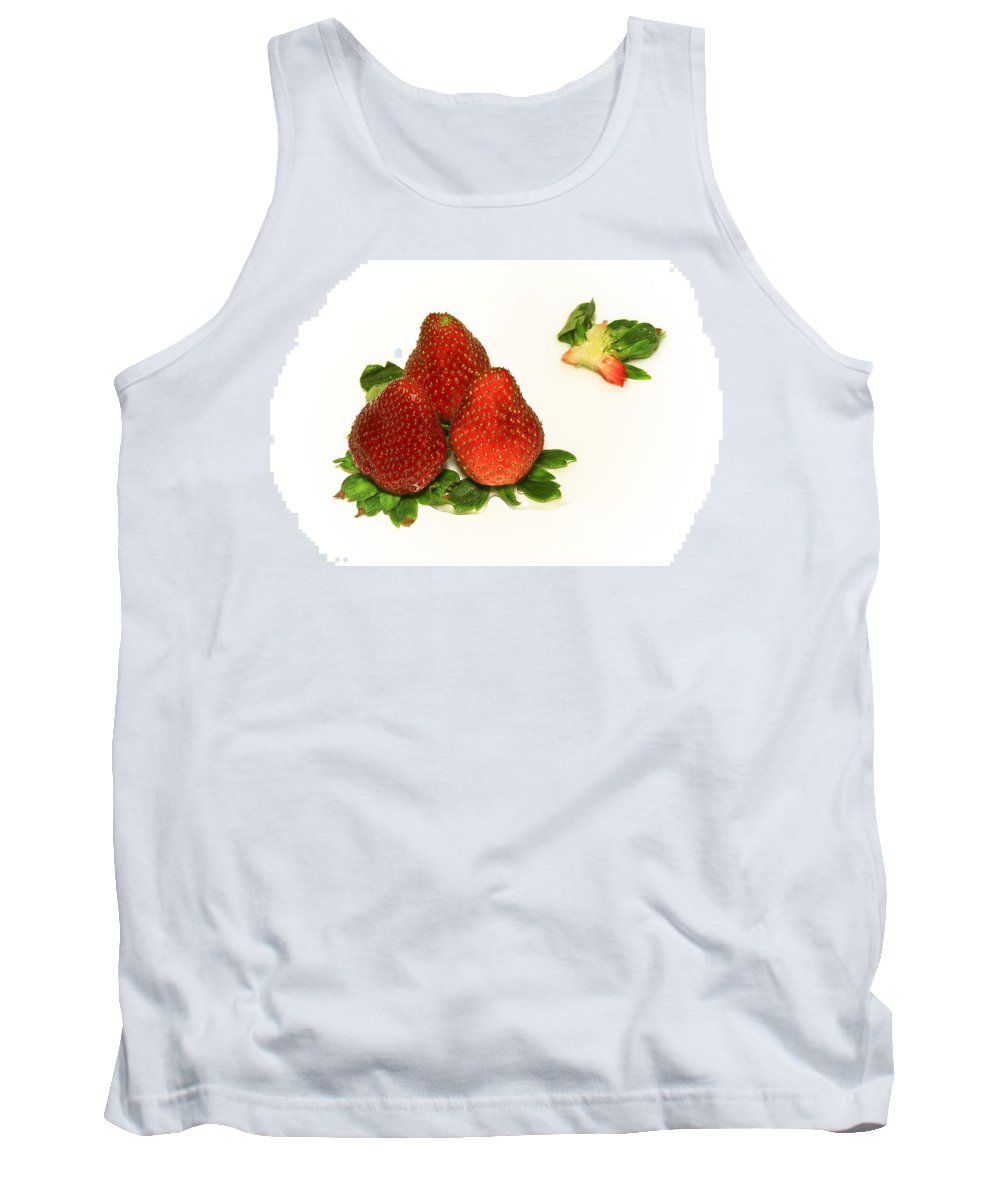 Strawberry Tank Top featuring the photograph 4... No... 3 Strawberries by Evelina Kremsdorf