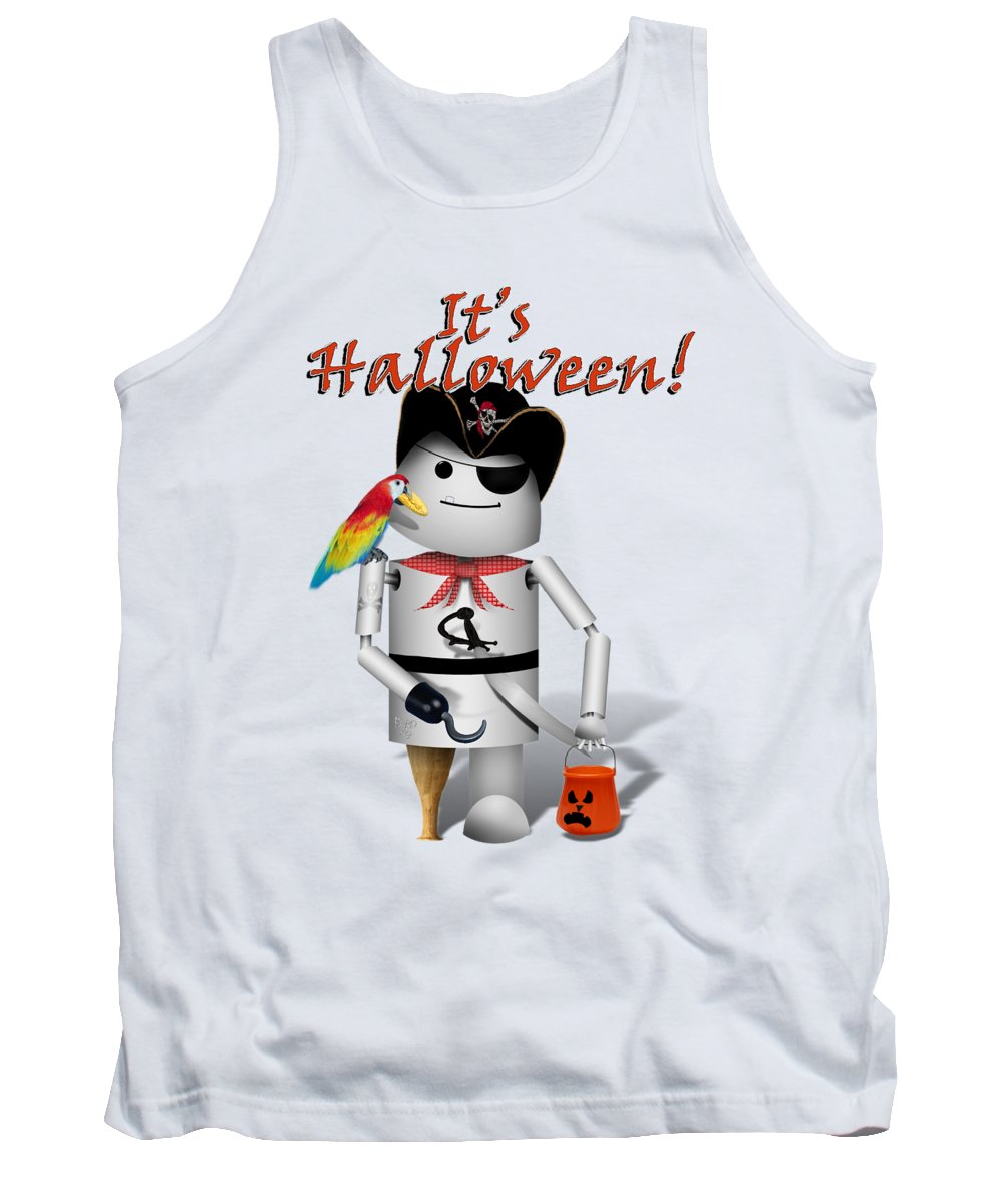 Halloween Tank Top featuring the mixed media Trick Or Treat Time For Robo-x9 by Gravityx9 Designs