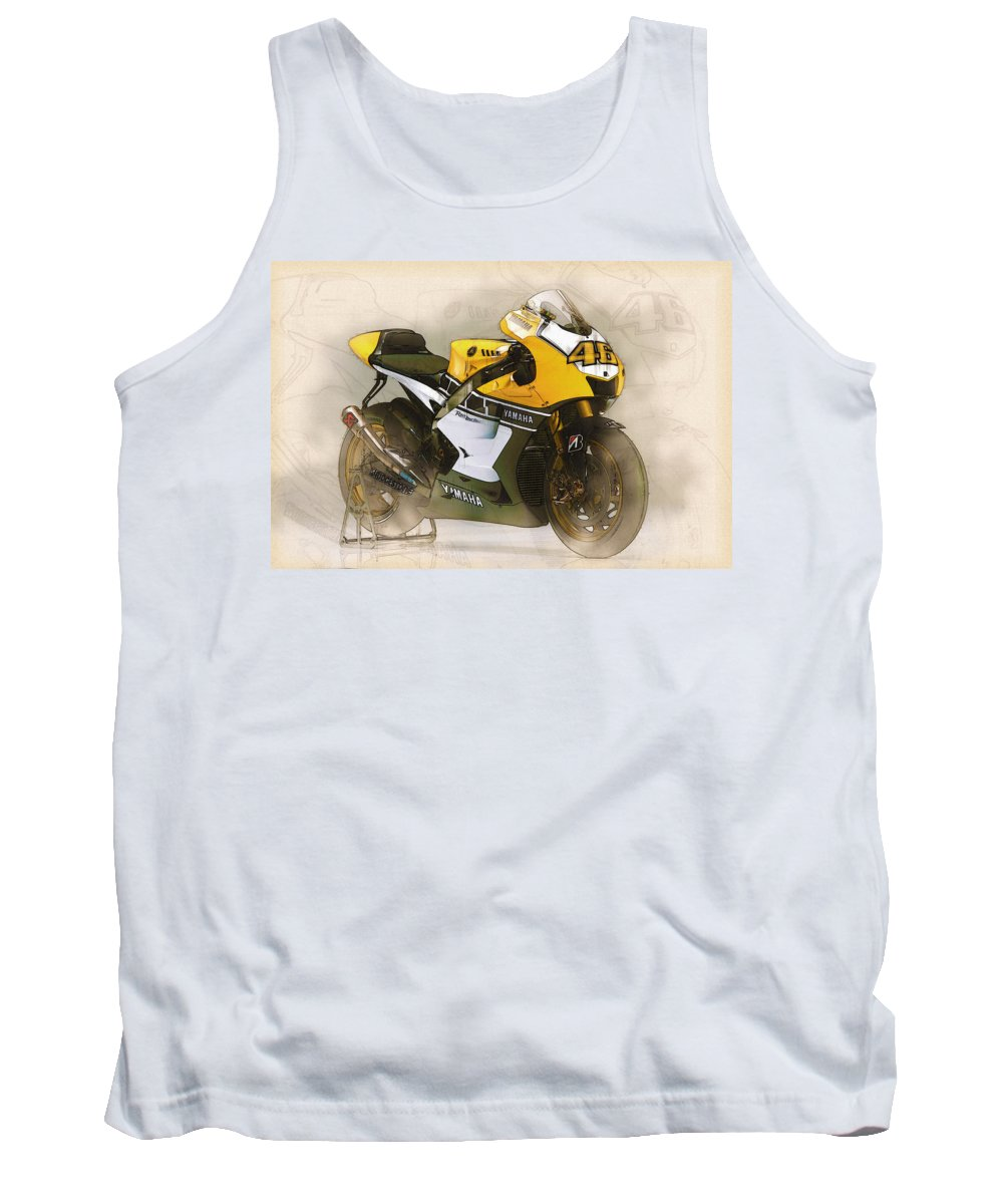 Spanish Tank Top featuring the digital art 46 Rossi by Don Kuing