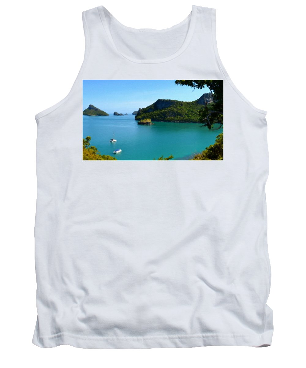 Landscape Tank Top featuring the digital art Landscape Oil Painting by Usa Map