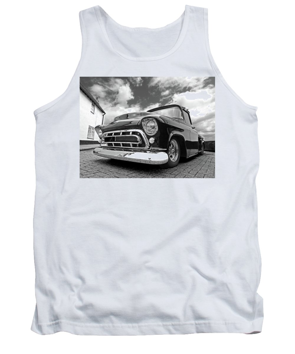 Chevrolet Truck Tank Top featuring the photograph 57 Stepside Chevy In Black And White by Gill Billington
