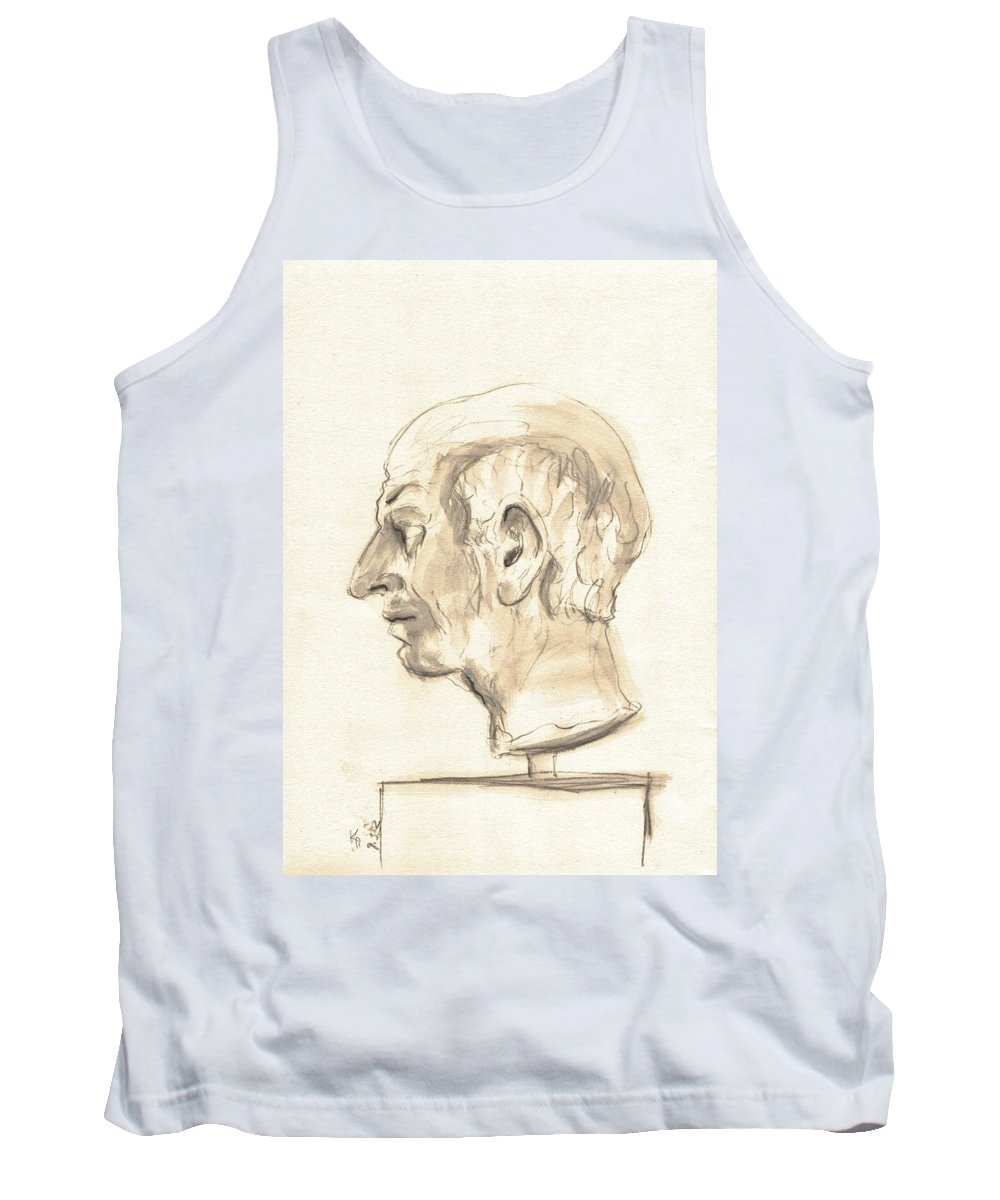 Art Tank Top featuring the drawing Drawing Of Ancient Sculpture by Karina Plachetka