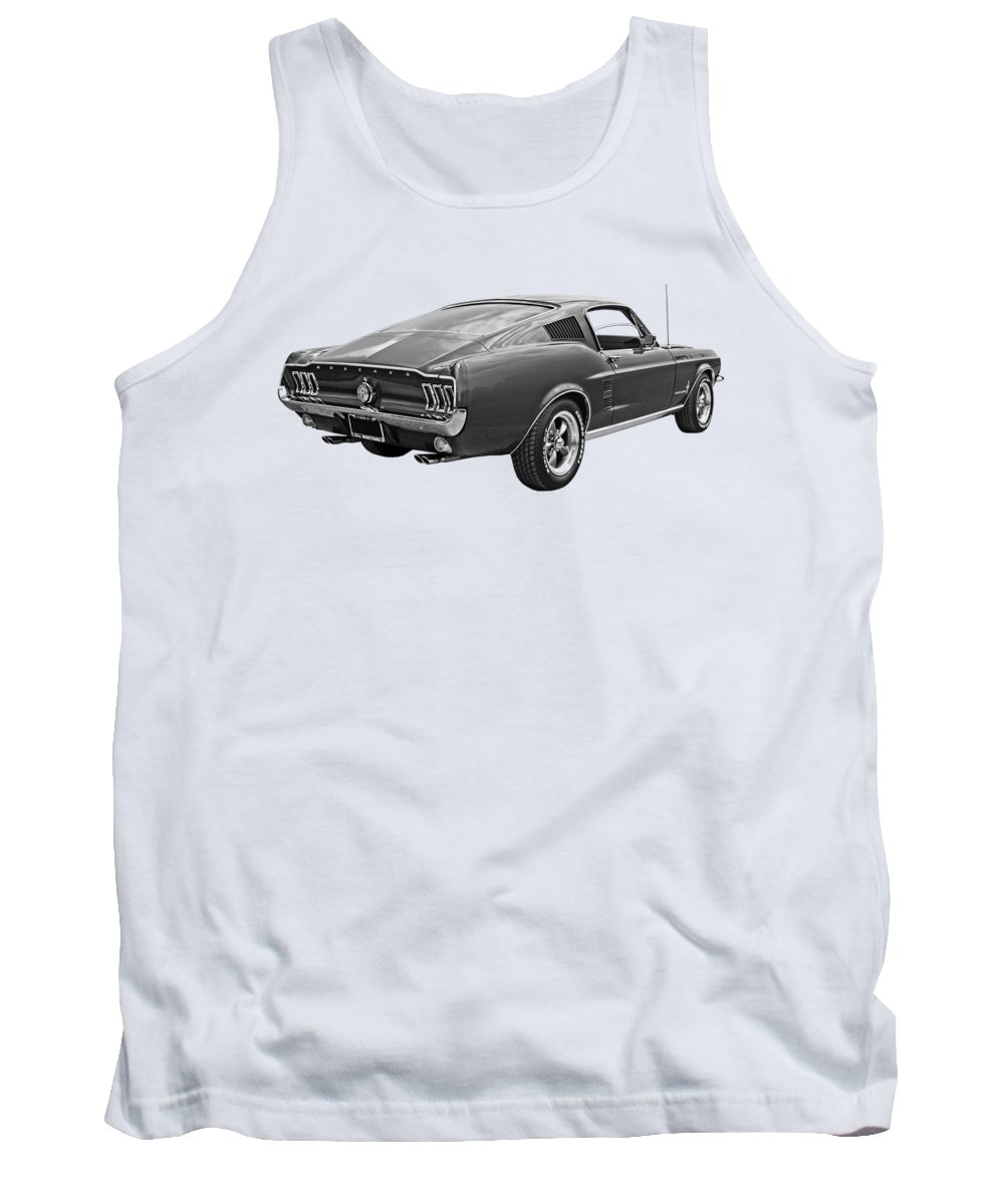 Ford Mustang Tank Top featuring the photograph 67 Fastback Mustang In Black And White by Gill Billington