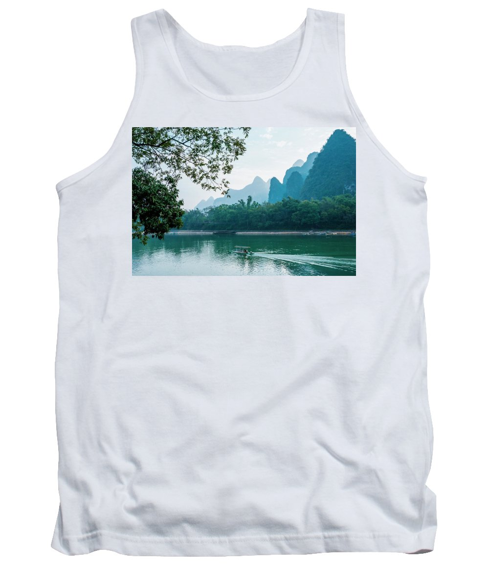 River Tank Top featuring the photograph Lijiang River And Karst Mountains Scenery by Carl Ning