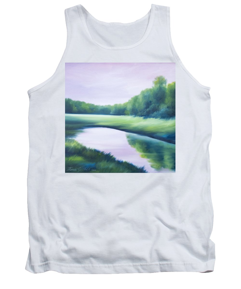 Nature; Lake; Sunset; Sunrise; Serene; Forest; Trees; Water; Ripples; Clearing; Lagoon; James Christopher Hill; Jameshillgallery.com; Foliage; Sky; Realism; Oils; Green; Tree; Blue; Pink; Pond; Lake Tank Top featuring the painting A Day In The Life 1 by James Christopher Hill