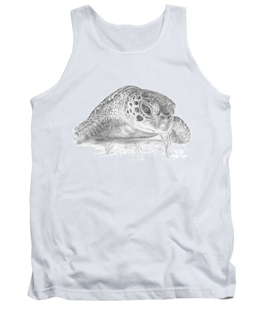 Sea Turtle Tank Top featuring the digital art A Green Sea Turtle Grayscale by Stacey May