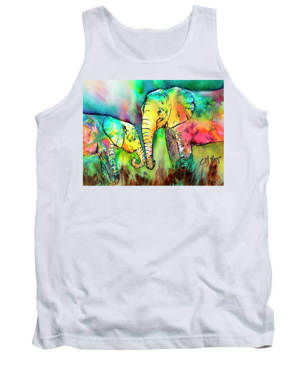 Elephant Tank Top featuring the painting A Moment With Mum by Carrie McKenzie