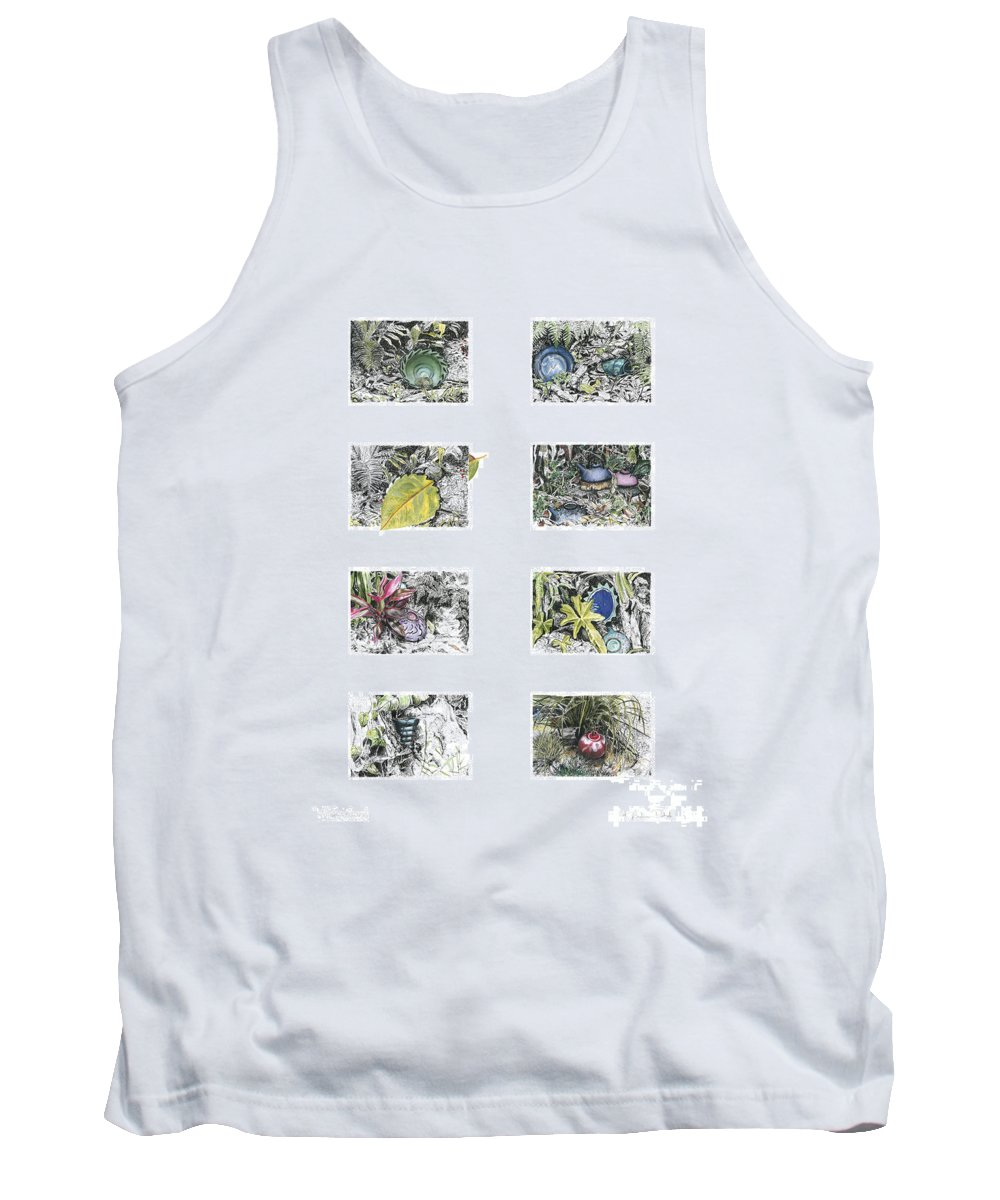 Tropical Tank Top featuring the drawing A Potters Garden by Kerryn Madsen-Pietsch
