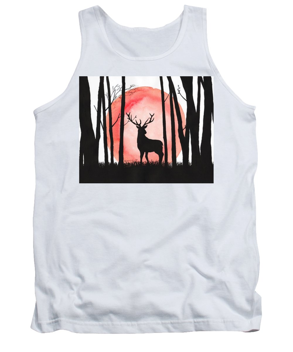 Reindeer Tank Top featuring the painting A Reindeer In The Woods by Edwin Alverio
