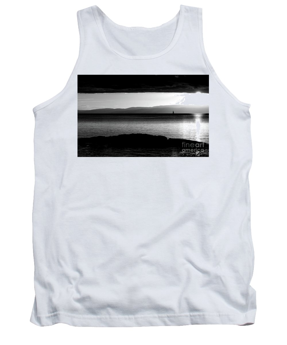 Digital Black And White Photo Tank Top featuring the photograph A Rock At Freycinet Bw by Tim Richards