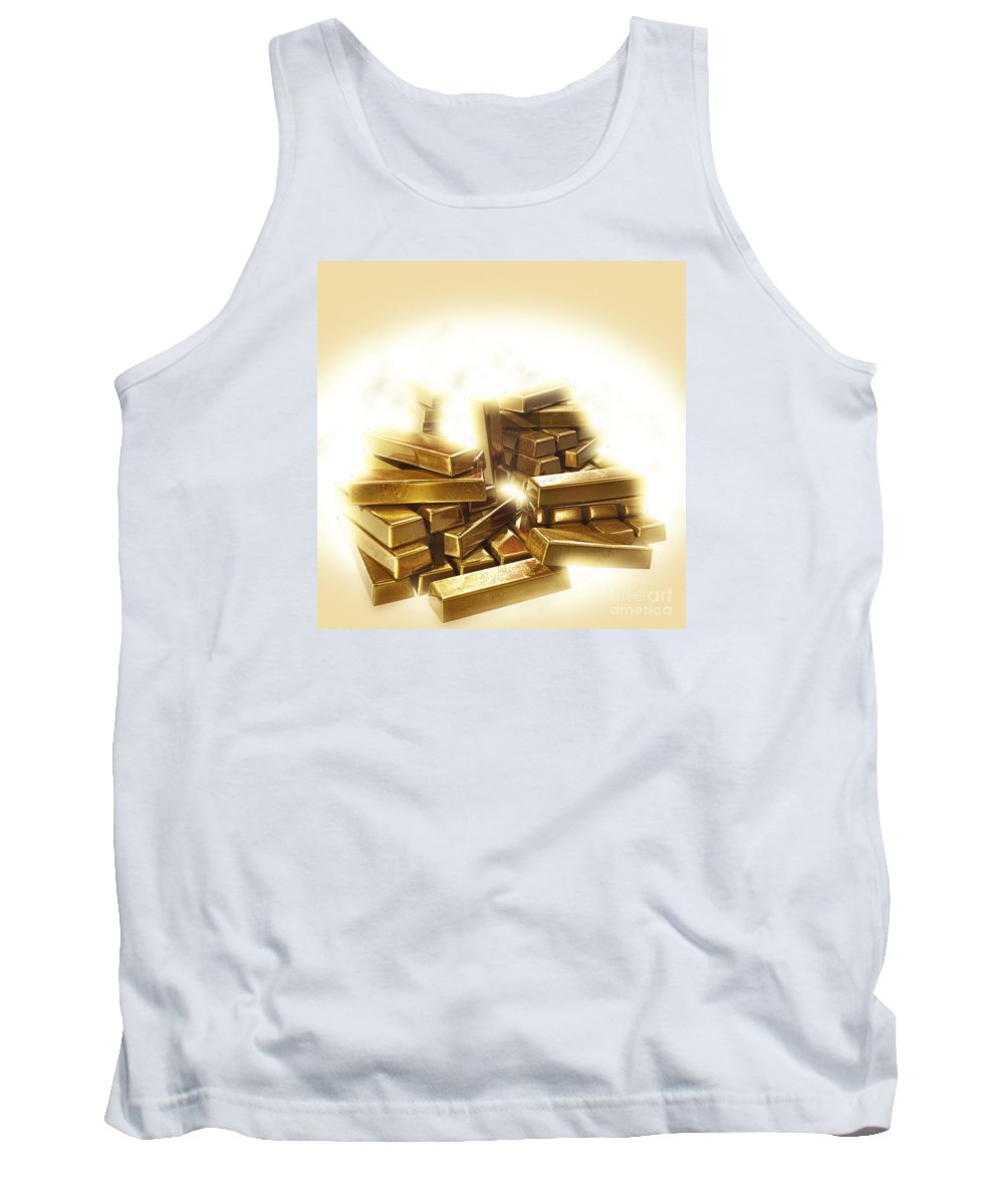 Glow Tank Top featuring the photograph A Stack Of Gold Bullion by Humorous Quotes