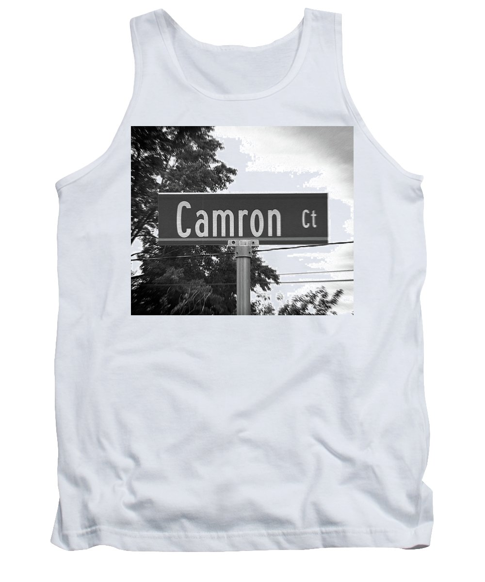 Camron Tank Top featuring the photograph Ca - A Street Sign Named Camron by Jenifer West