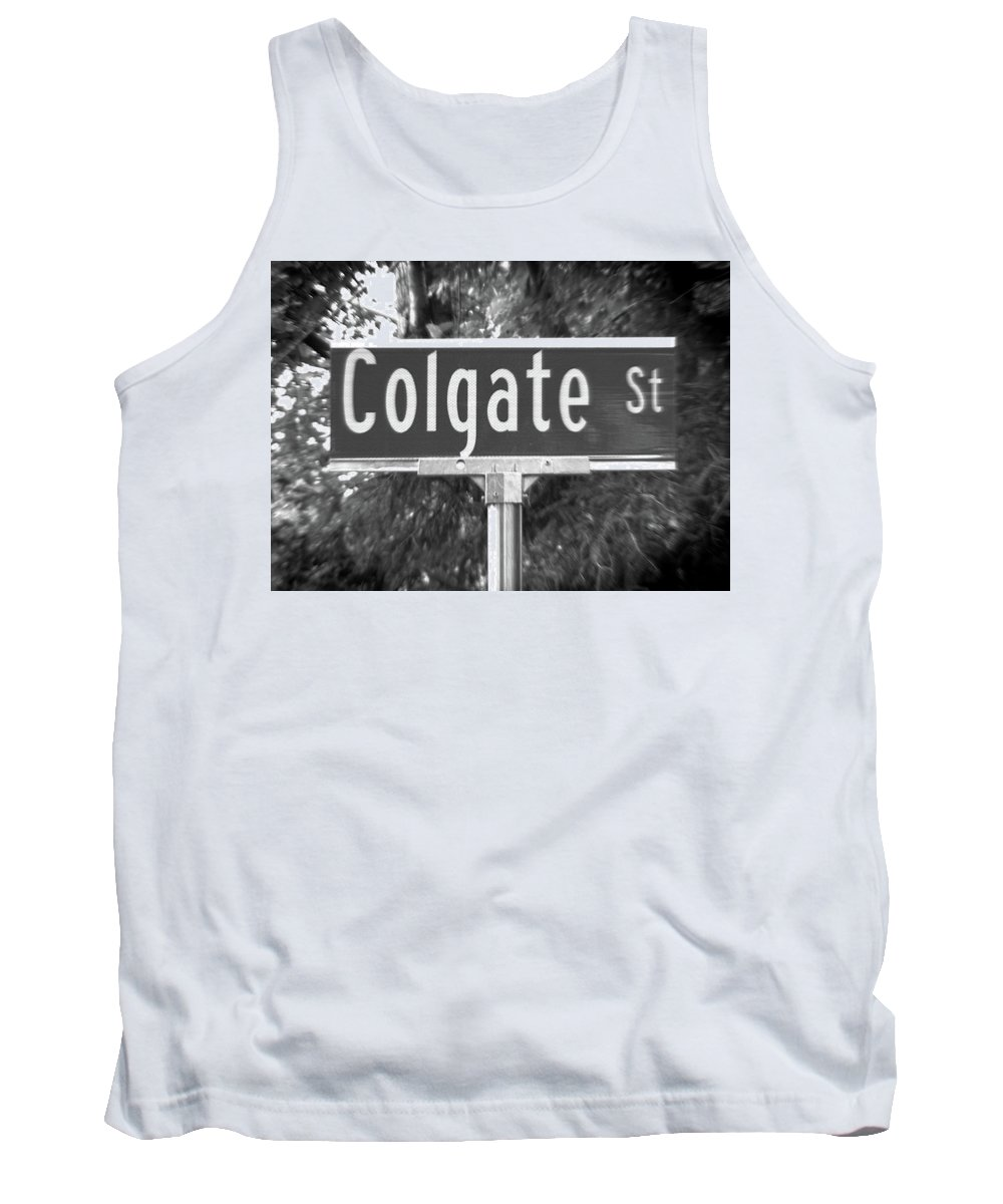 Colgate Tank Top featuring the photograph Co - A Street Sign Named Colgate by Jenifer West