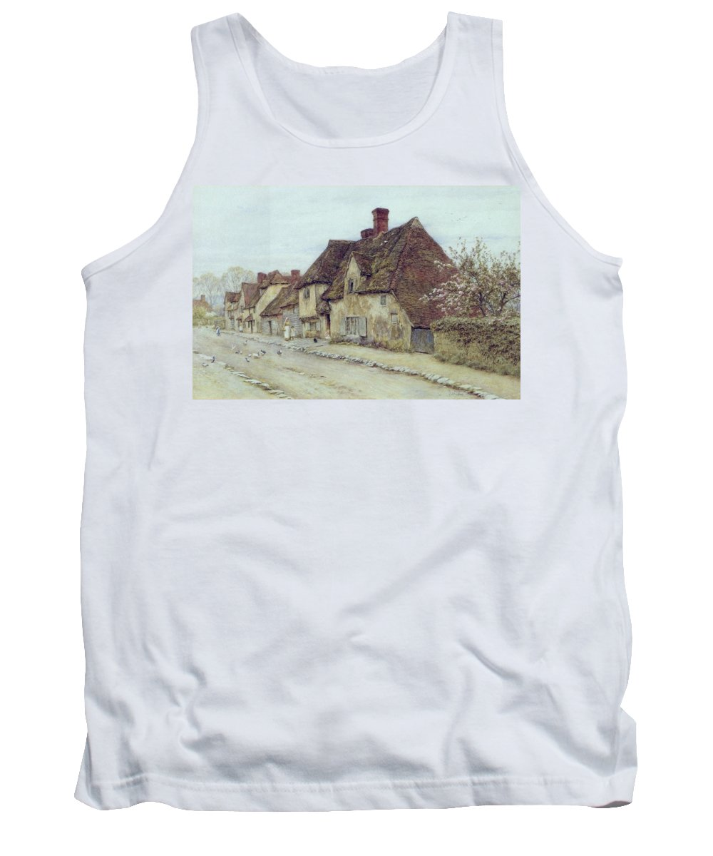 Cottage; Mother And Child; Rural Scene; Country; Countryside; Home; Path; Chicken; Picturesque; Idyllic; Daughter; Street; Row Of Houses; Female Tank Top featuring the painting A Village Street Kent by Helen Allingham