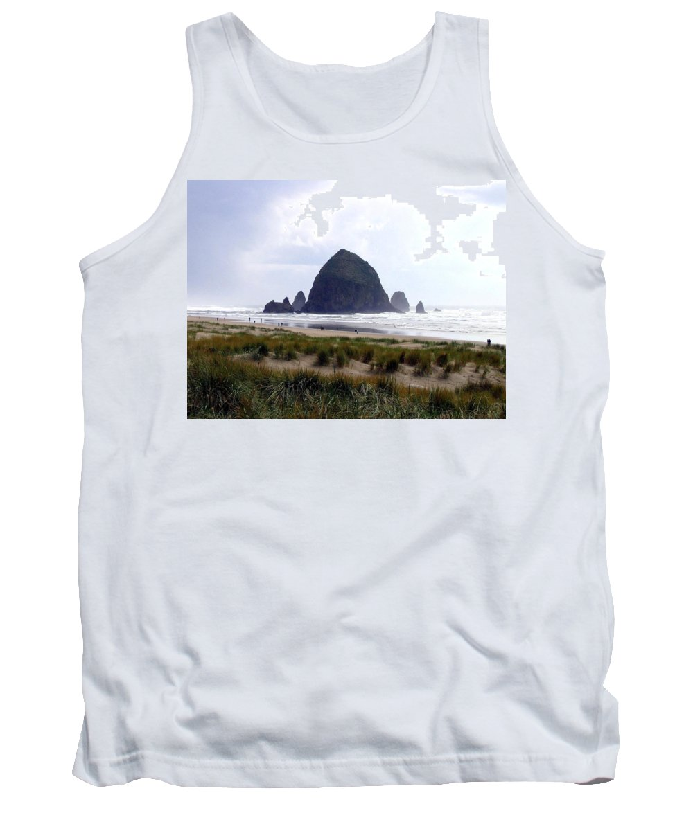 Cannon Beach Tank Top featuring the photograph A Walk In The Mist by Will Borden