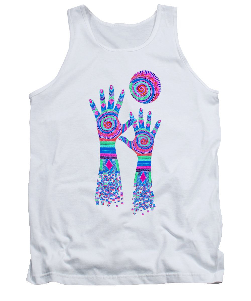 Aboriginal Hands Tank Top featuring the digital art Aboriginal Hands Pastel Transparent Background by Barbara St Jean