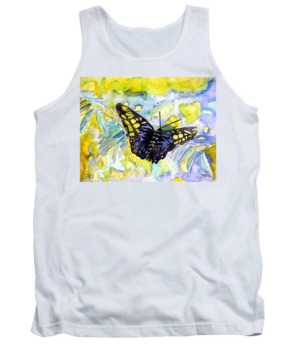 Abstract Tank Top featuring the painting Abstract Butterfly by Derek Mccrea