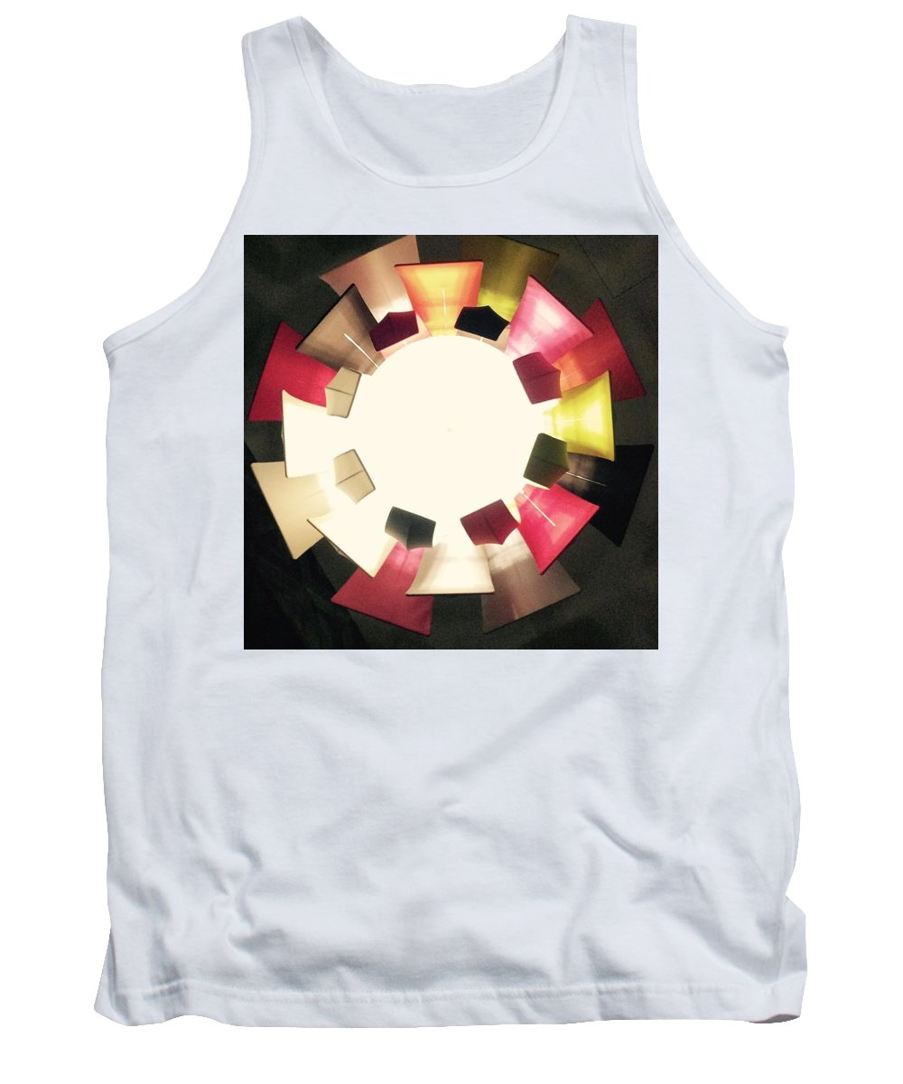Light Circles Panels Beige Cream Gold Pink Black Colour Convergence Tank Top featuring the photograph Abstract Circles by In Plain Sight