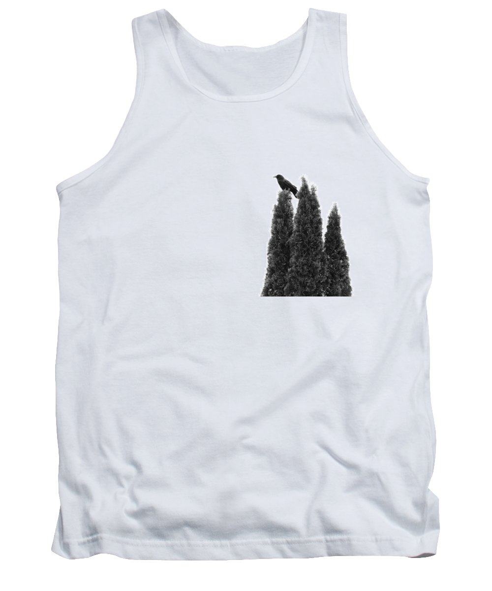 Black And White Tank Top featuring the photograph Abstract Crow In Bushes by Gothicrow Images