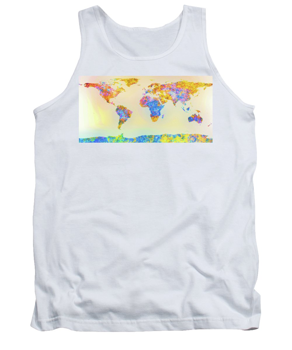 Earth Tank Top featuring the painting Abstract Earth Map 2 by Bob Orsillo