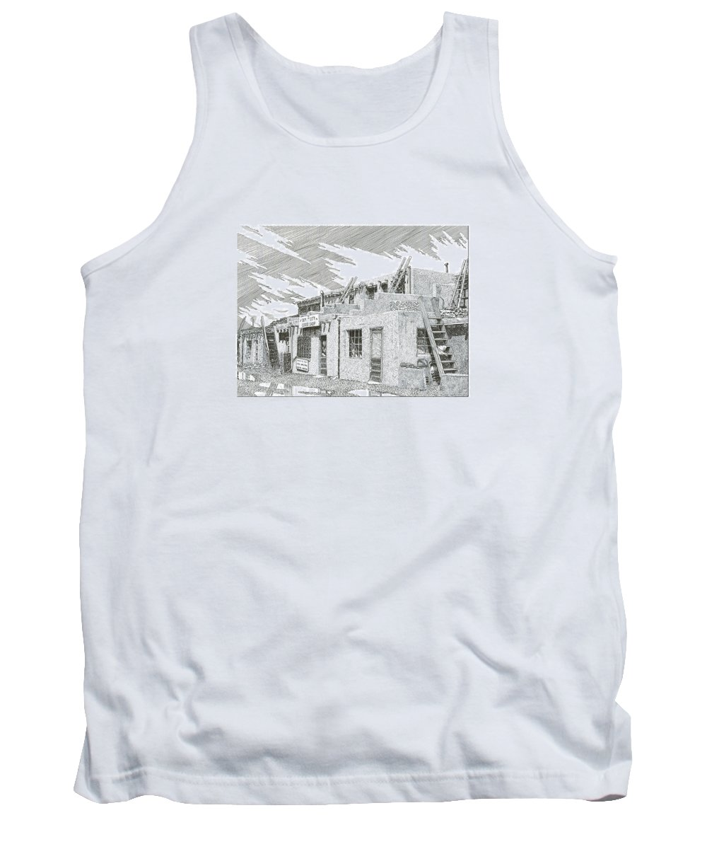 Images Of Acoma Sky City Acoma Tank Top featuring the drawing Acoma Sky City by Jack Pumphrey