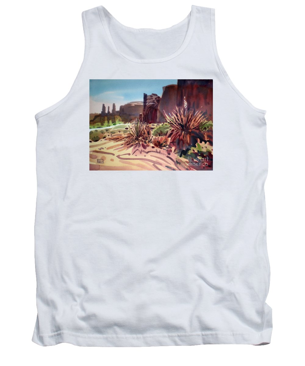 Monument Valley Tank Top featuring the painting Across Monument Valley by Donald Maier