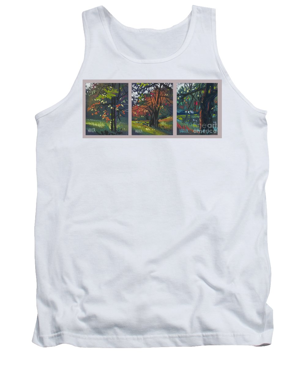 Autumn Foliage Tank Top featuring the painting Across the Creek Triplet by Donald Maier