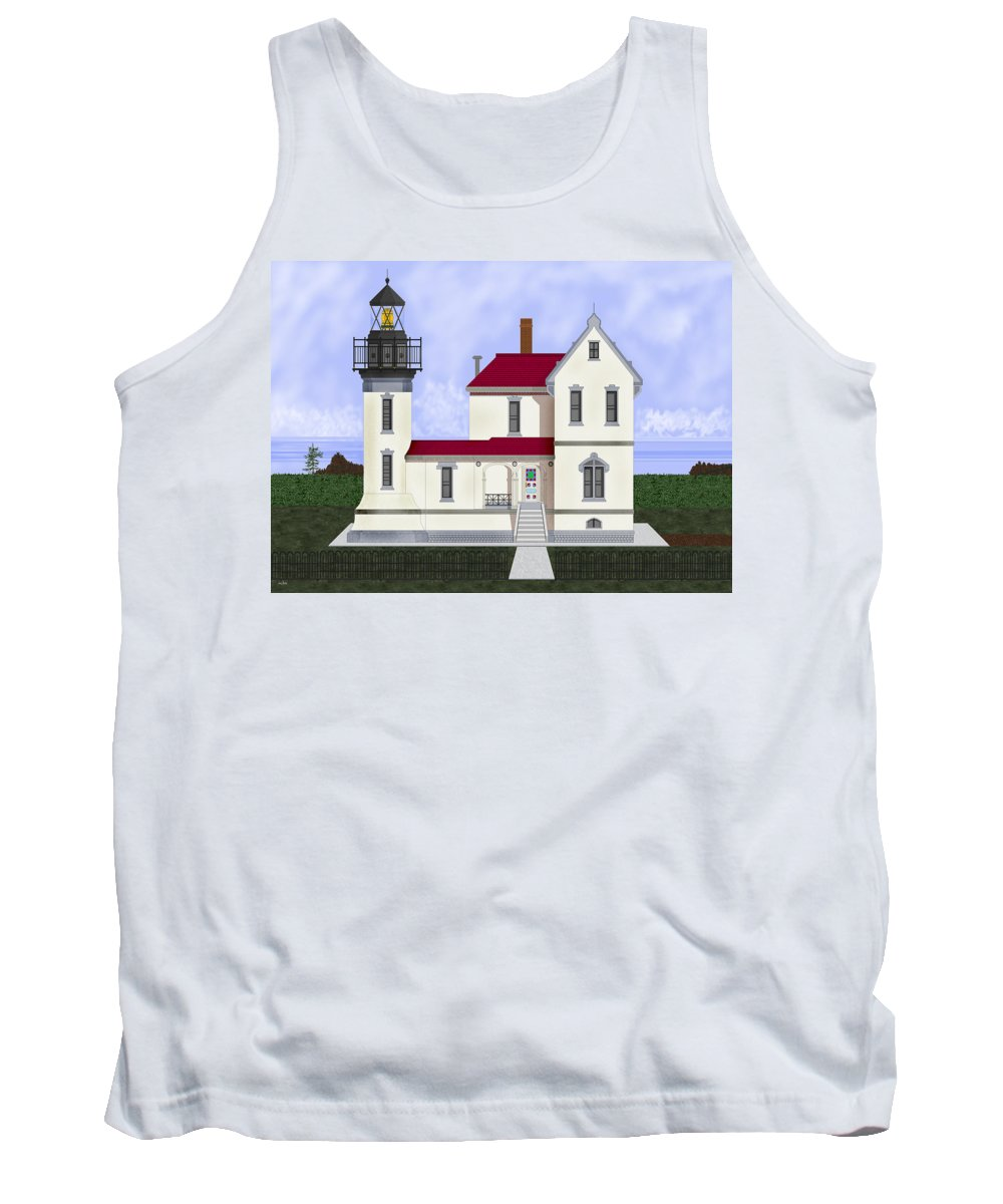 Admiralty Head Tank Top featuring the painting Admiralty Head Light Station Circa 1920 by Anne Norskog