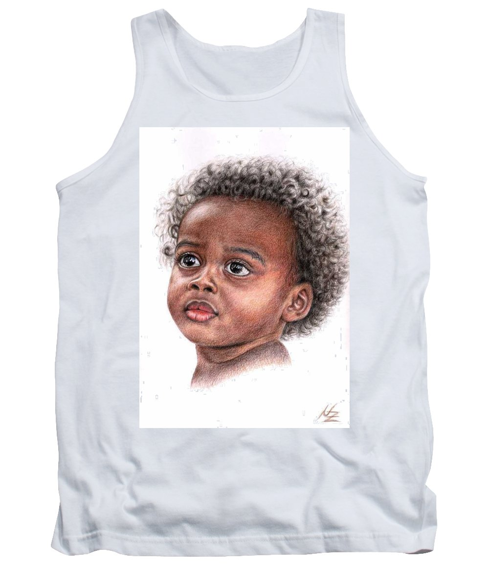Child Tank Top featuring the drawing African Child by Nicole Zeug