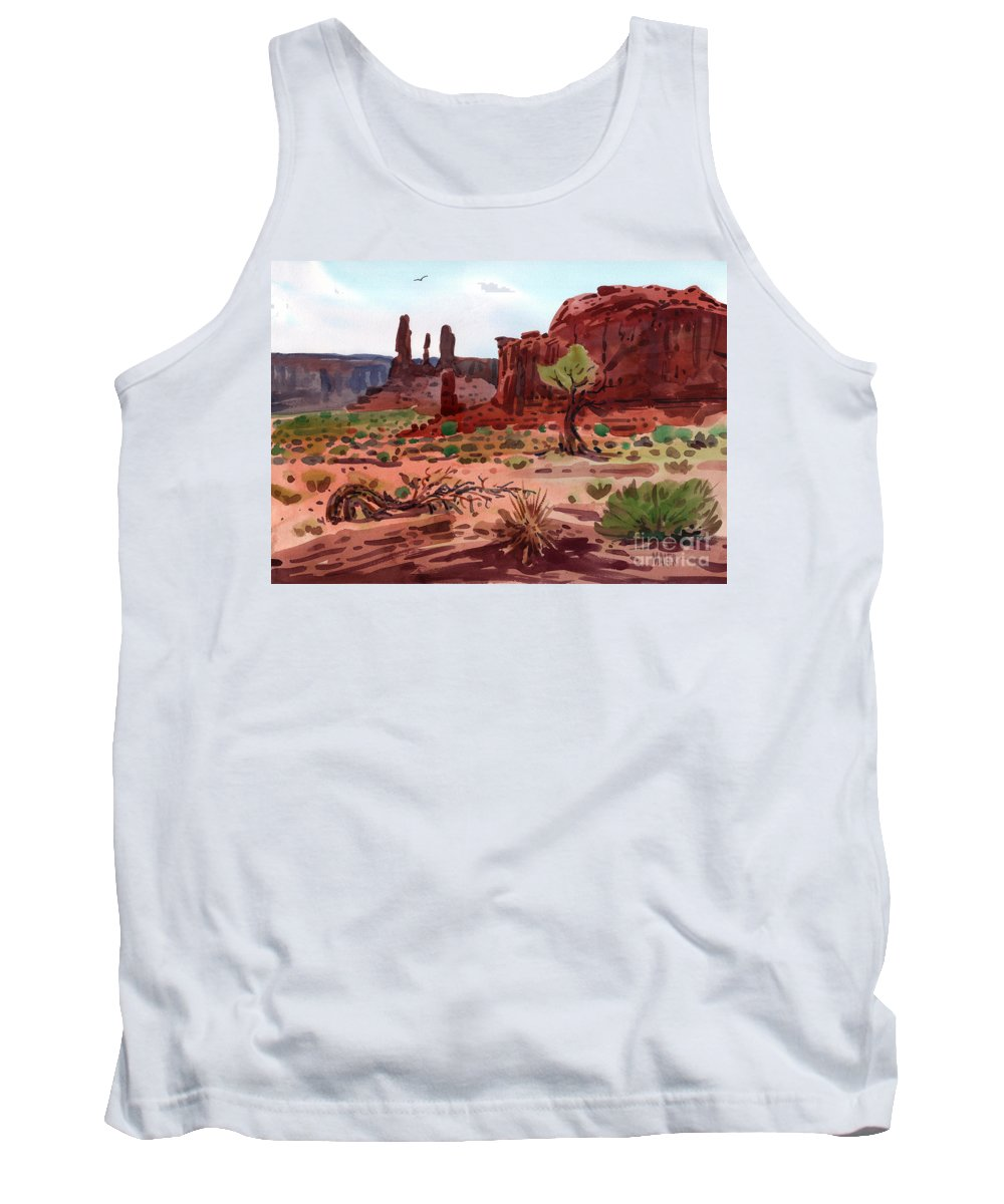 Monument Valley Tank Top featuring the painting Afternoon In Monument Valley by Donald Maier