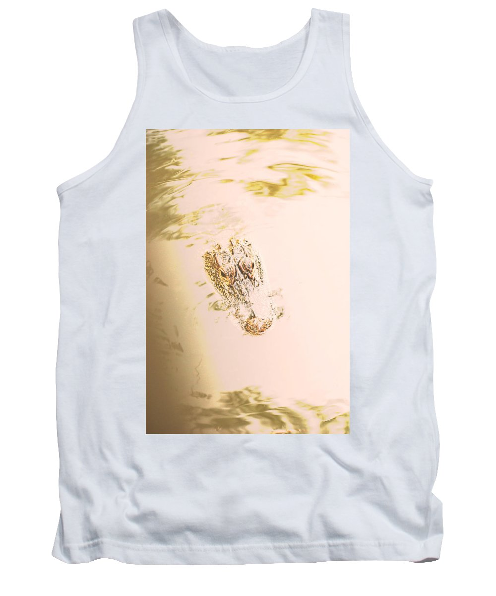 Alligator Tank Top featuring the photograph Aged Alligator by Jennifer Kelly