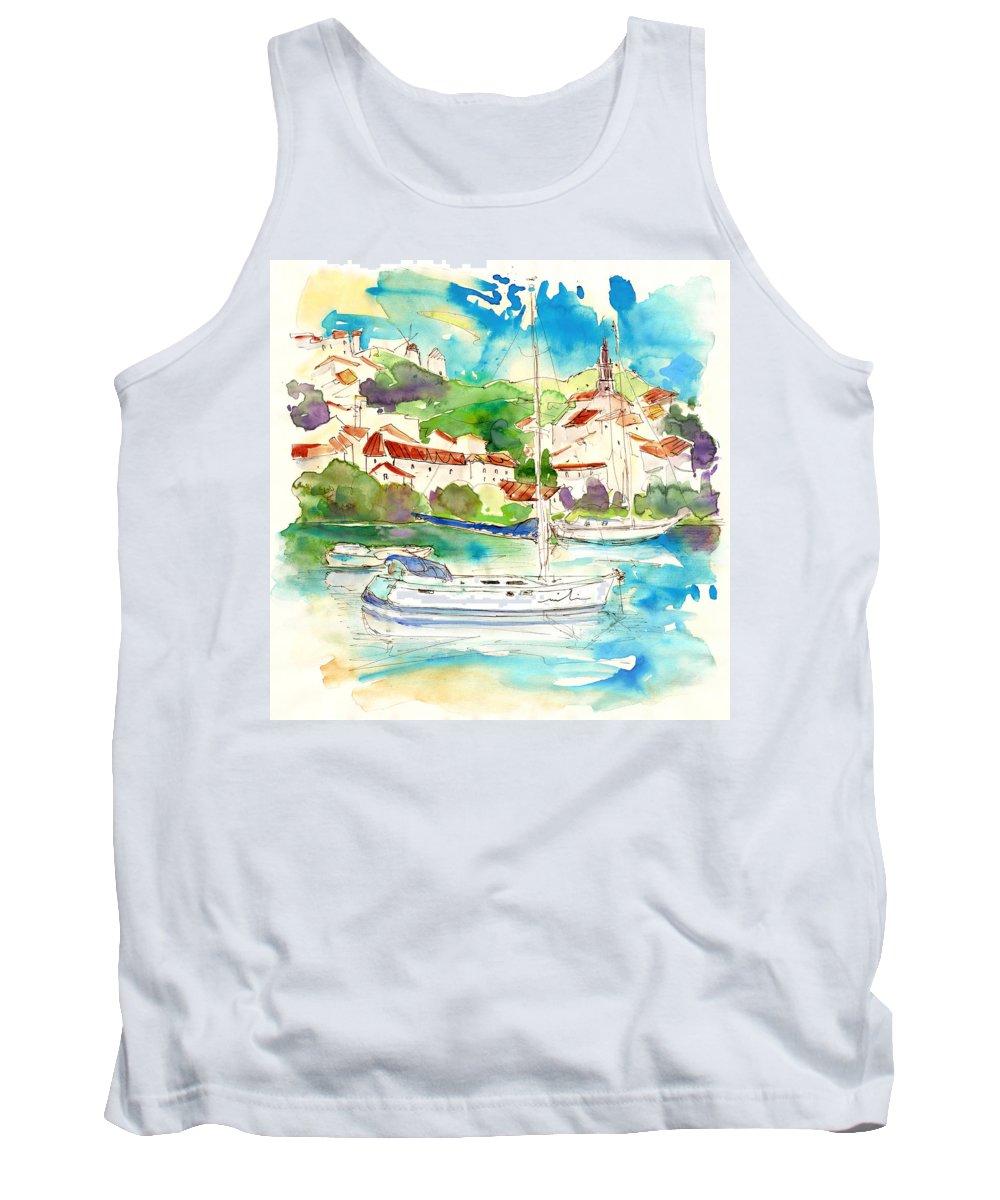 Travel Tank Top featuring the painting Alcoutim In Portugal 01 by Miki De Goodaboom