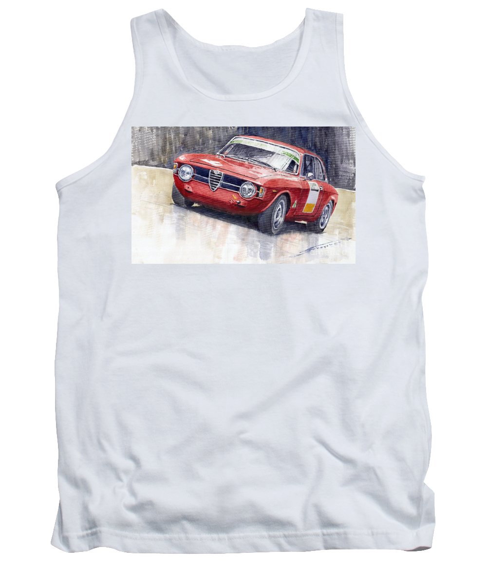 Watercolor Tank Top featuring the painting Alfa Romeo Giulie Sprint Gt 1966 by Yuriy Shevchuk
