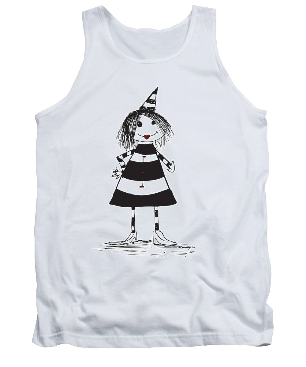 Alice Tank Top featuring the drawing Alice by Michael Mooney