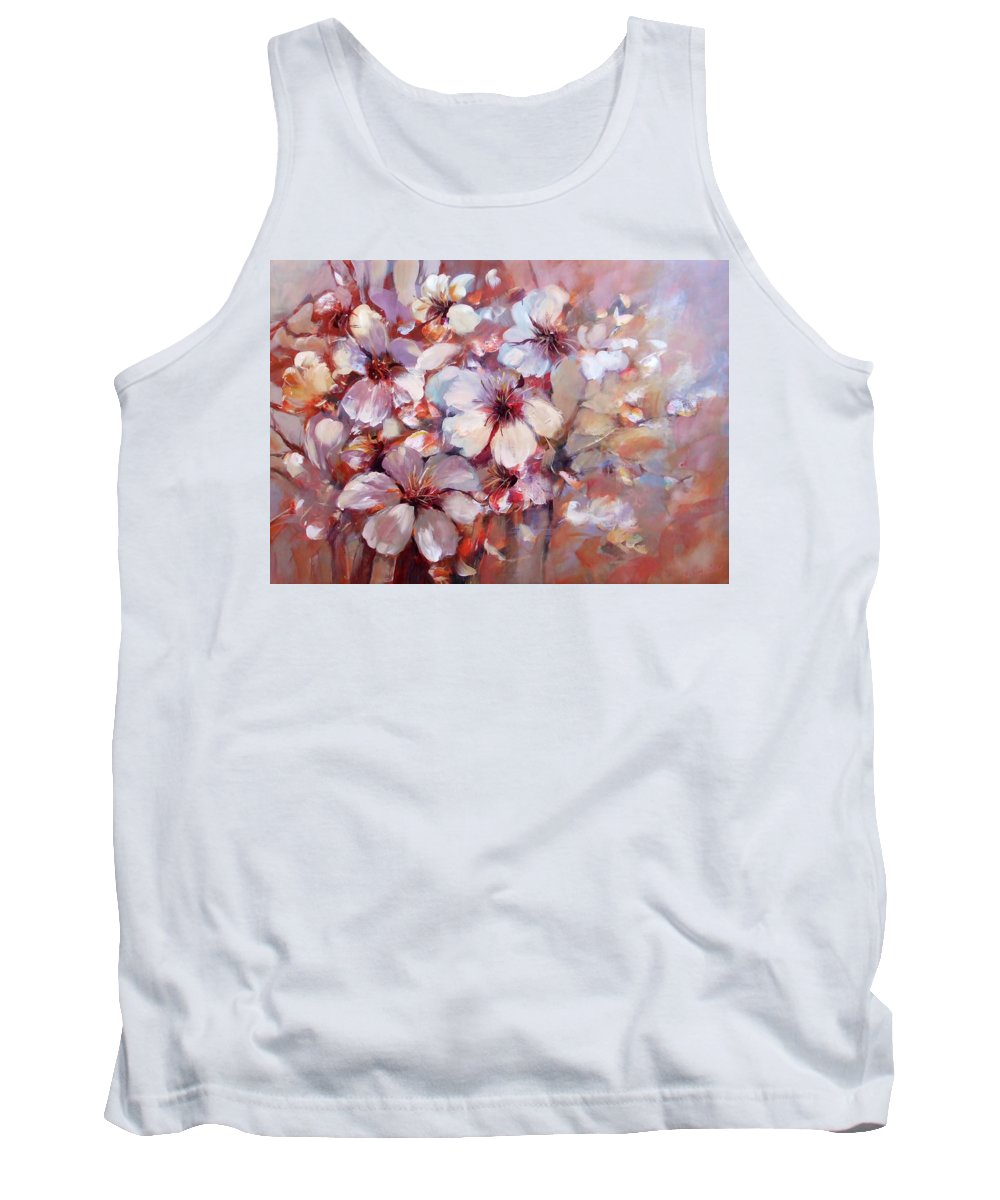 Outdoor Tank Top featuring the painting Almonds Blossom 6 by Roman Ben