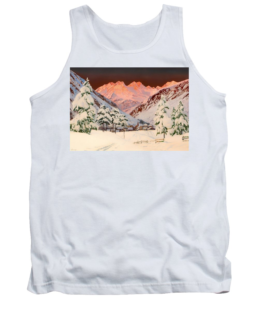 Painting Tank Top featuring the painting Alpine Mountain Scene by Mountain Dreams