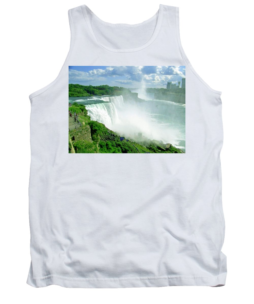 Waterfall Tank Top featuring the photograph American And Niagra Falls At Niagra by Laurie Paci