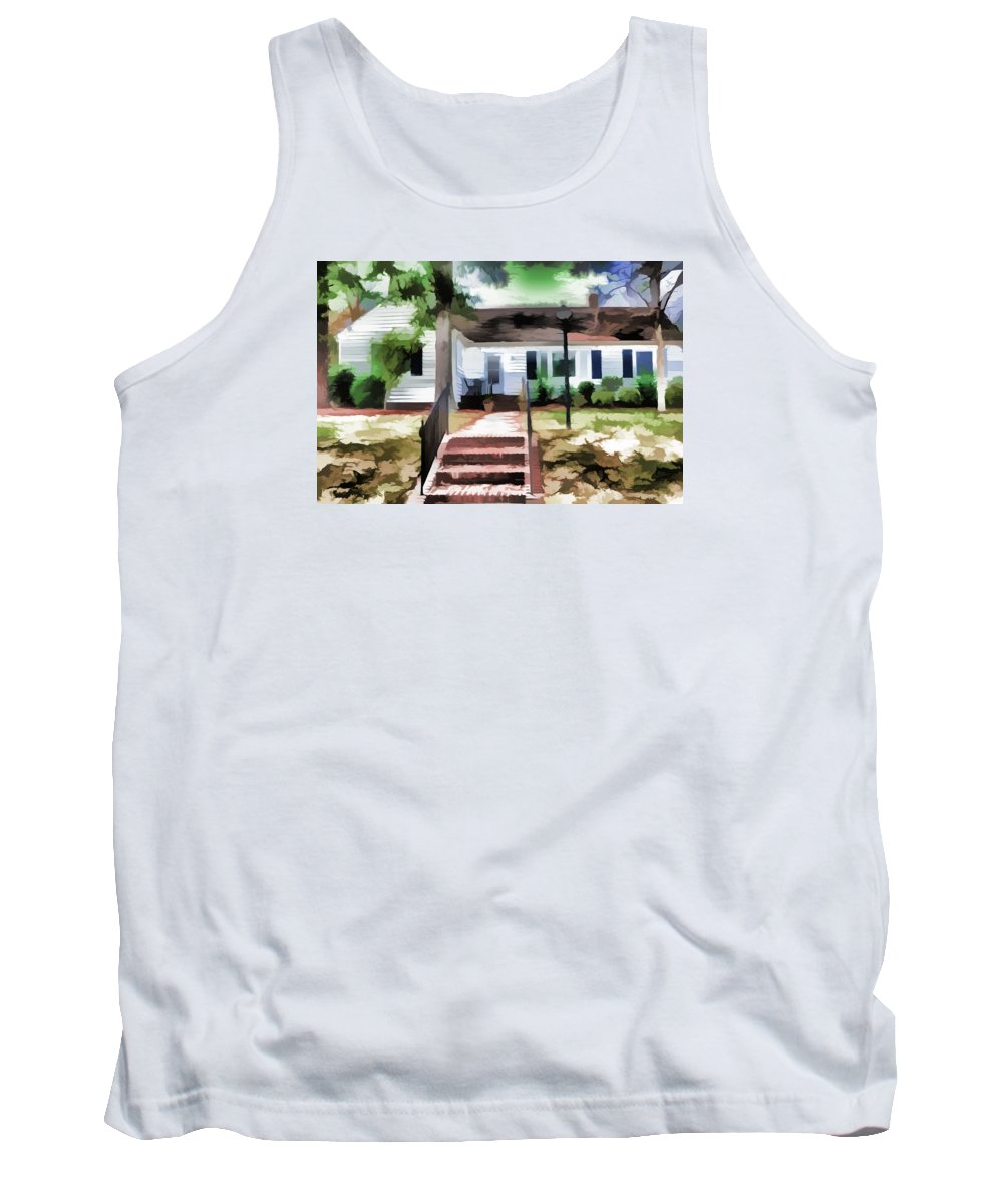 Home Tank Top featuring the painting American Beautiful House by Jeelan Clark